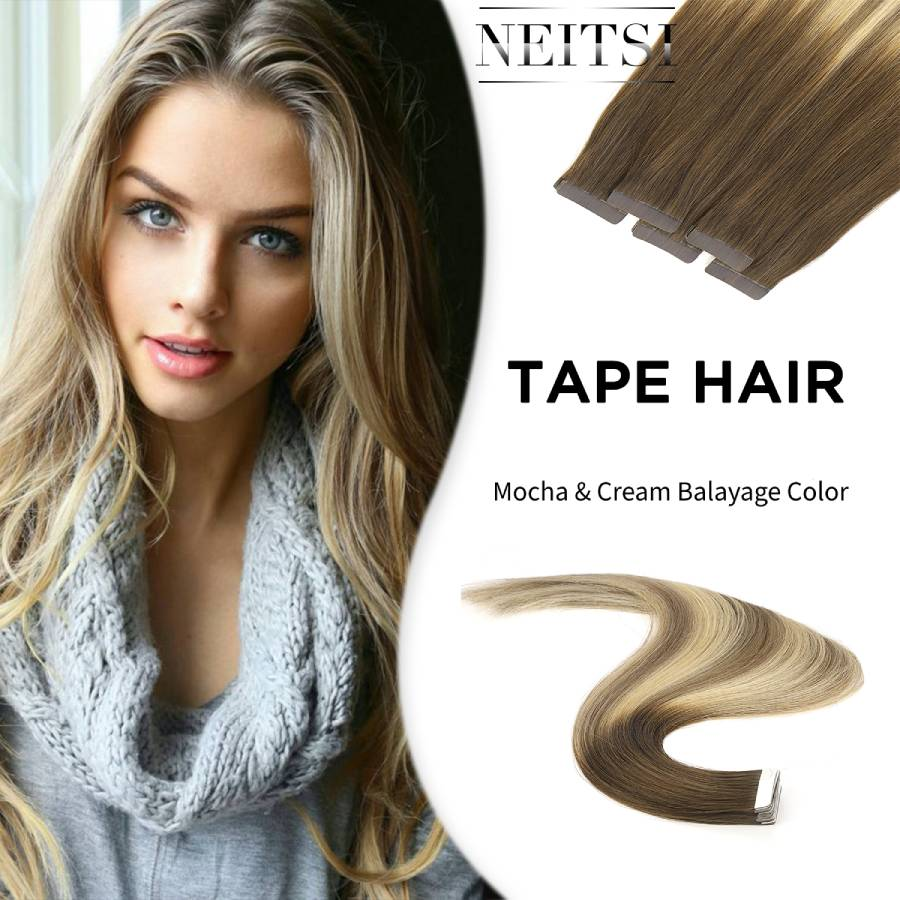 """Neitsi Remy Tape In Invisible Human Hair Extensions Double Drawn Adhesive Straight Skin Weft Hair 20"""" 2.5g/s Balayage Color"""