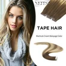 Neitsi – Extensions de cheveux naturels Remy, bande adhésive Invisible, Double traction, trame de peau lisse, couleur de Balayage, 20 pouces, 2.5 g/s