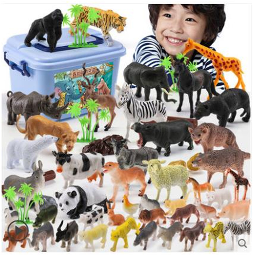 Children's Animal Toy Model Safari Tiger Simulation Animal Toy Set Plastic