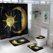 Glorystar 1/3/4 шт Ванная комната sun moon печати Душ Шторы