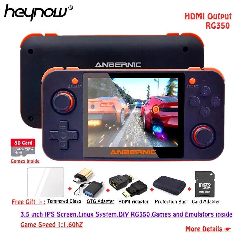 """HEYNOW RG350 Linux OS rétro Console de jeu 3.5 """"IPS écran HDMI sortie RG 350 lecteur de jeu vidéo portable 10000 + jeux 16 émulateur"""