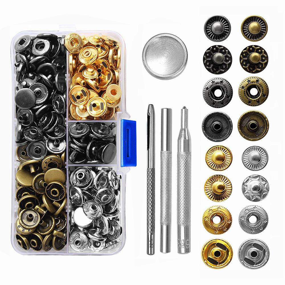 Handcraft Tools Set Snap Fasteners Kit 4 Colors Metal Button Press Studs With Pieces Fixing Tool for Leather, Coat,Jacket