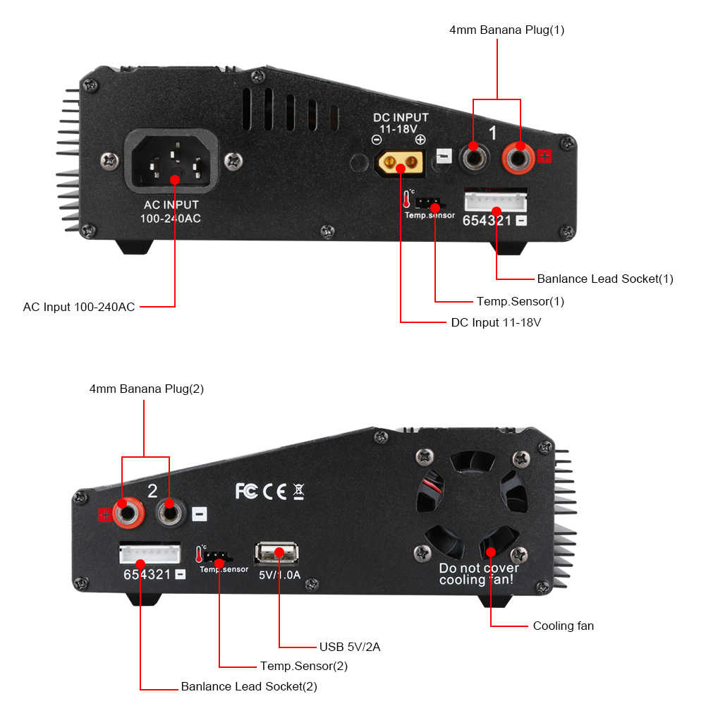 Htrc H120 AC 50W 70W / DC 100W * 2 Double Output 10A RC Balance Charger/discharger untuk Lilon/Lipo/Hidup/Lihv Baterai
