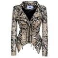 SX 2020 Neue Mode Frauen Glatte Motorrad faux PU Leder Jacke Dame Langarm schlank Biker Streetwear Snake print schwarz mantel