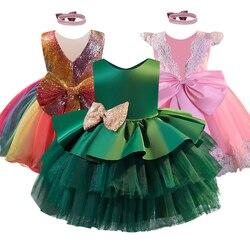 2020 verão novo bolo vestido com flor superior do corpo lantejoulas folha de lótus manga bolo fofo banquete vestido