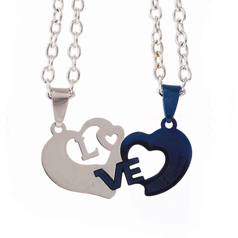 2 PCs/set Couple Necklace for Women and Men New Fashion High-grade Stainless Steel Heart Pendant 'love' Letter Paired Necklace