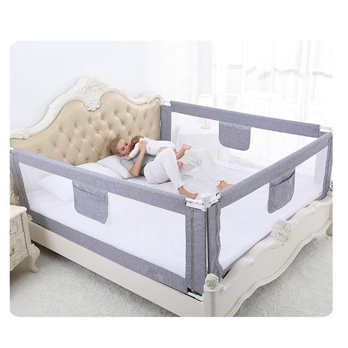 2M Baby Bed Fence for Child Safety used as Baby Gate from Falling Accidentally while Sleeping or Playing 15