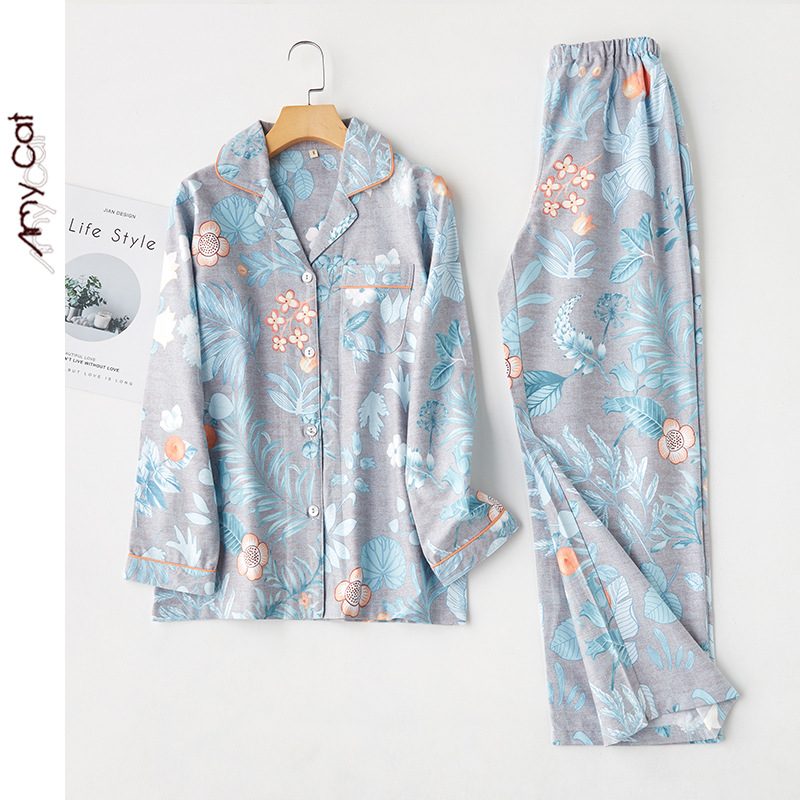 2020 New Cotton Pomegranate Flower Printing Pajamas Womens Long Sleeves Lapel Pyjamas Loungewear Sleepwear Home Clothes 2 Piece