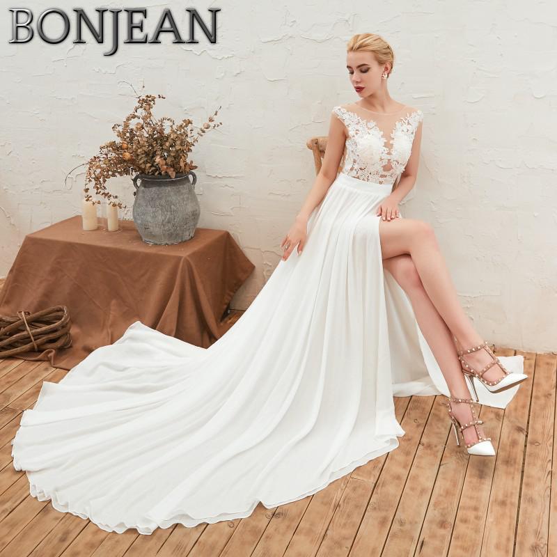 Appliqued Lace Chiffon Wedding Dresses 2019 Plus Size Beach ...