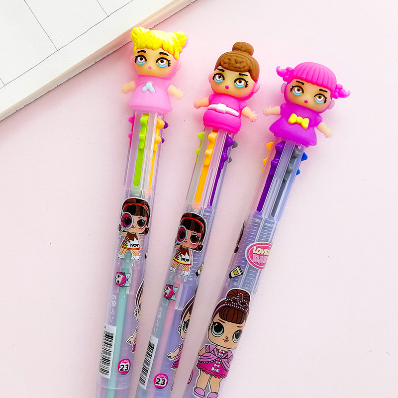 Cartoon 6 In 1 Lovely Girl Dolls Ballpoint Pen Multicolor Surprise Kawaii Baby Ball Pen For Kids Gift School Stationery Supply