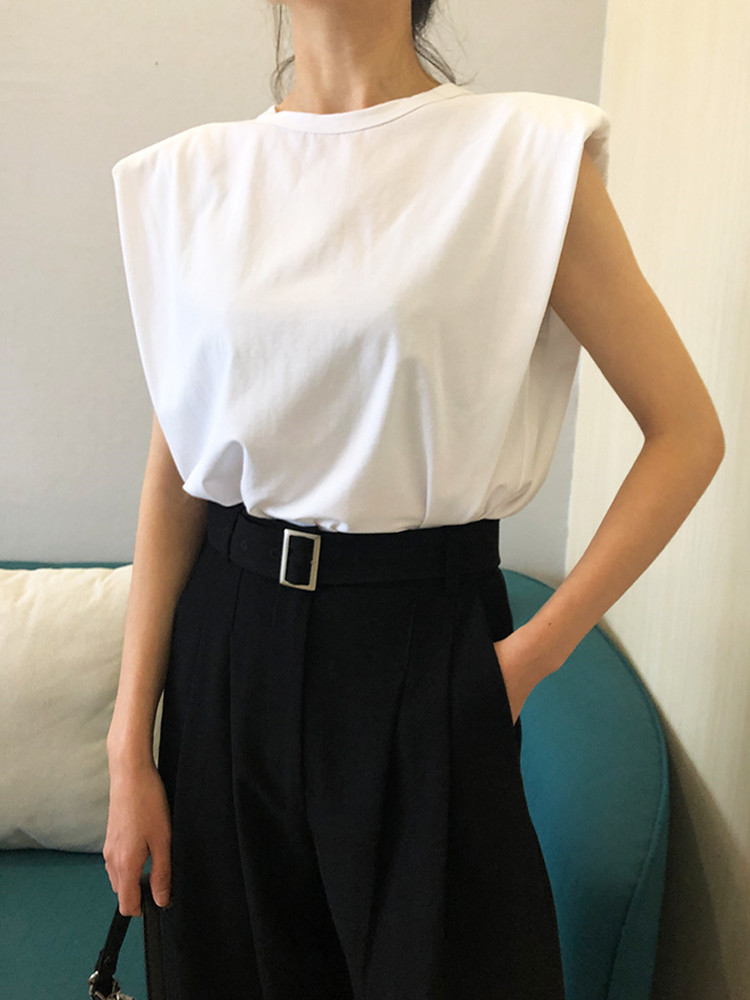 2020 Spring Summer Women's Black Or White Color T-shirt Padded Shoulder Sleeveless Solid Color Wild Top O-neck Tees