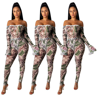 Europe and the United States new autumn women's sexy print long-sleeved pencil pants trousers jumpsuit