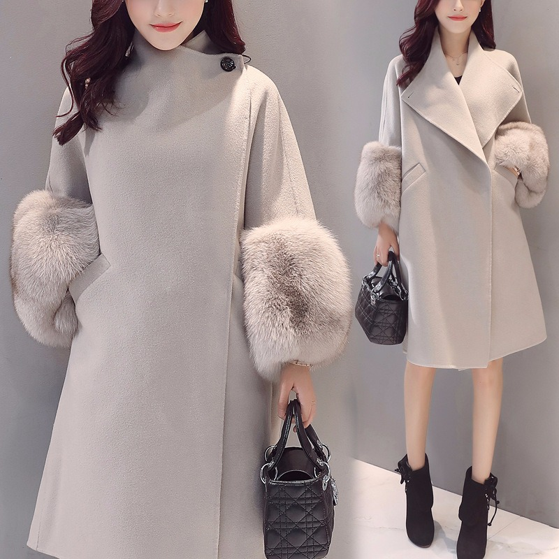 19 Autumn/Winter Woolen Coat Jackets Warm Wool Blend Faux Fur Sleeve Long Turn-down Collar Loose Coats Large Size Outerwear 3