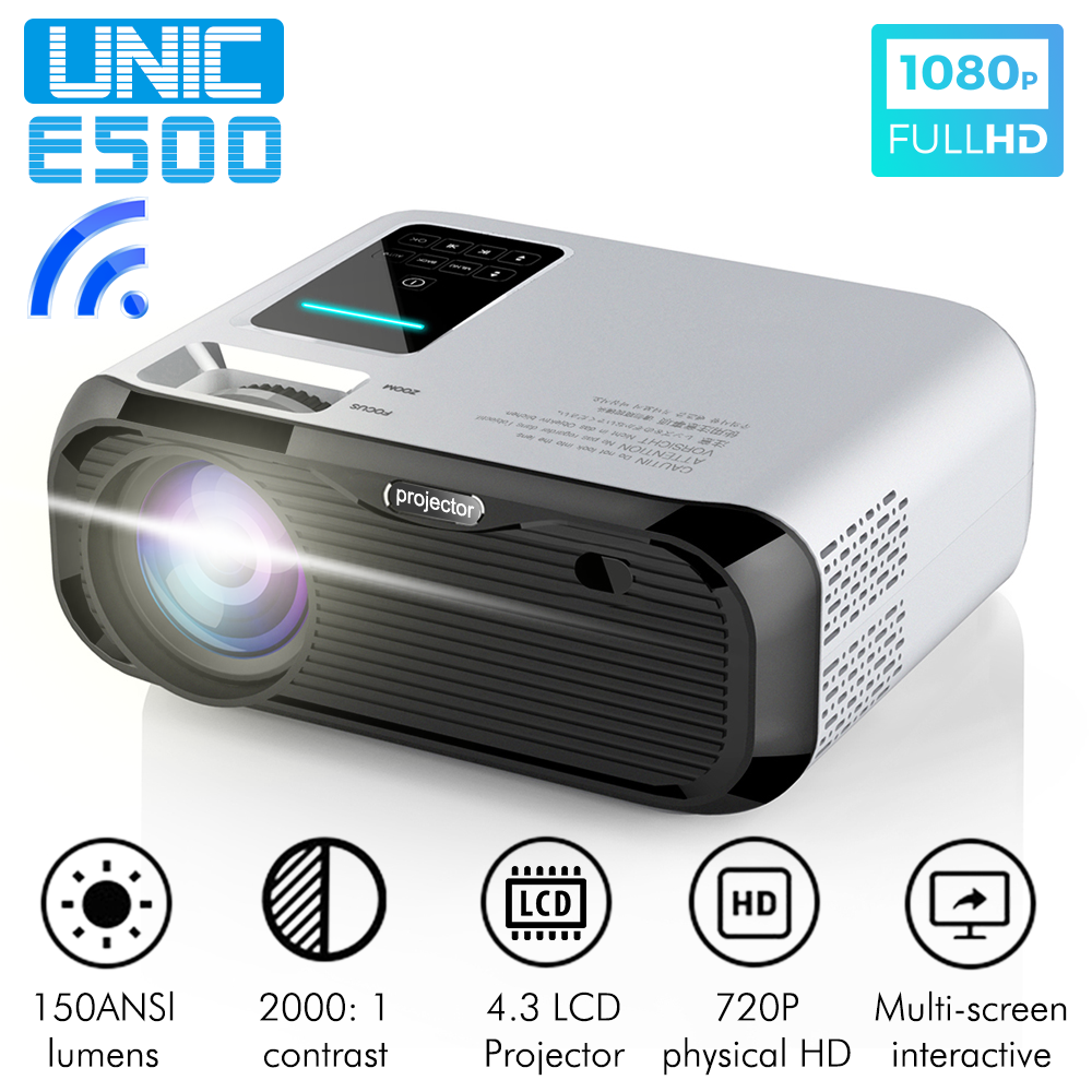 New UNIC E500 150 Inch 1280x720P 6000 Lumens LCD Projector 1080P Full HD HDMI WIFI Home Theater Android Proyector LED PK CP600 image
