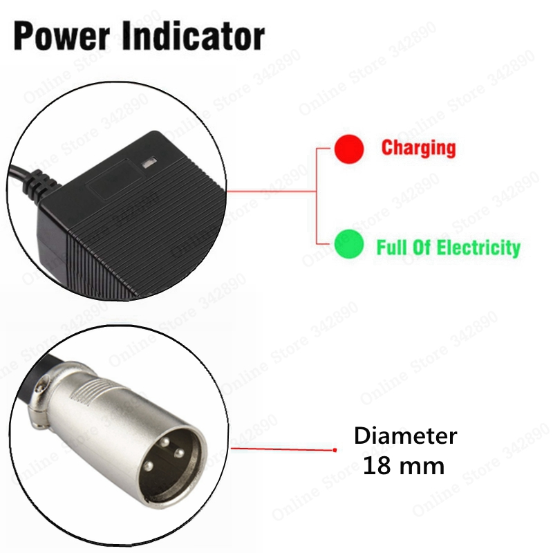 36V Charger 42V 2A electric bike lithium battery charger for 36V lithium battery pack with 3-Pin XLR Socket/connector