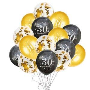 Image 5 - 30 일 40 일 50 일 생일 파티 풍선 스탠드 홀더 열 블랙 골드 풍선 생일 파티 장식 성인 30 40 세