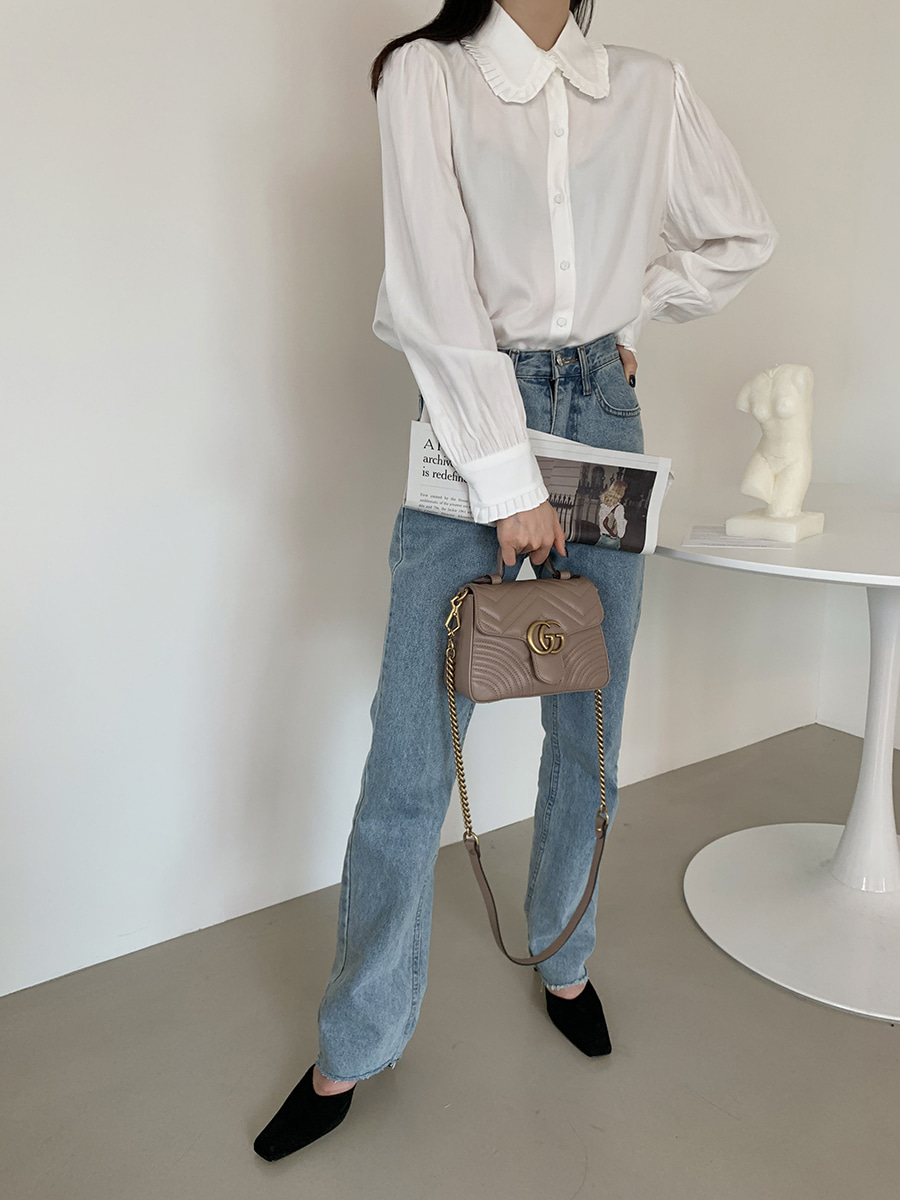 H7ad51d38bf9142949efc0c9cfa0293d35 - Spring / Autumn Korean Frilled Turn-Down Collar Long Sleeves One-Button Cuffs Solid Blouse