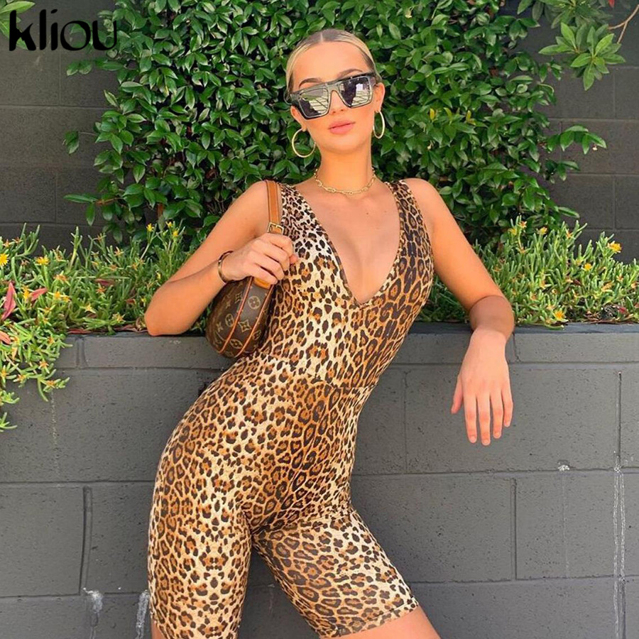 Kliou 2020 Spring New Leopard Playsuits Women Stretch Slim Short Sexy V-neck Jumpsuits Casual Basic Jogging Active Wear Mujer