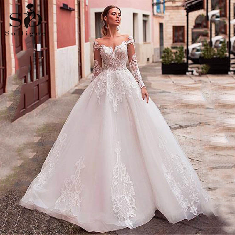 Wedding Dress Boho Long Sleeve 2020 A-line Lace Appliques Bridal Dress Custom Made Vintage Sexy Wedding Gown Robe De Mariee