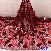 African Lace Fabric 2019 High Quality Lace Fabric French Sequins Net Red Tulle Fabrics Nigerian Laces For Wedding Dress QF2950B