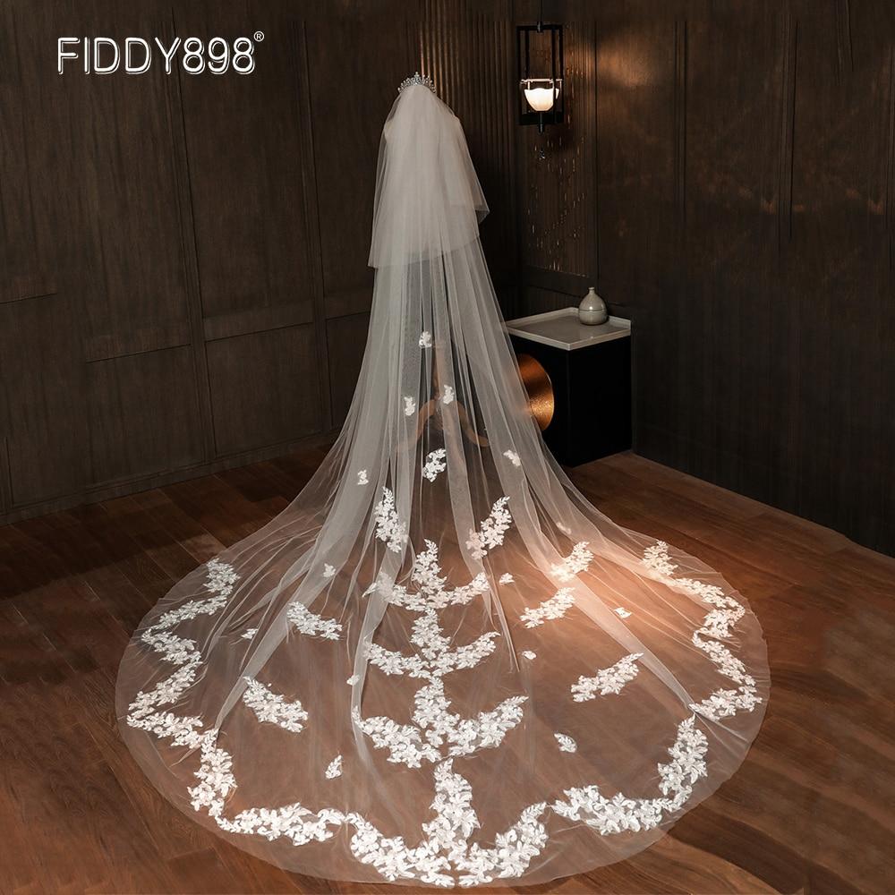 2 Layers Elegant Bride Wedding Veil Long 2020 Appliques Lace Bridal Veils with Comb Wedding Accessories voile mariage