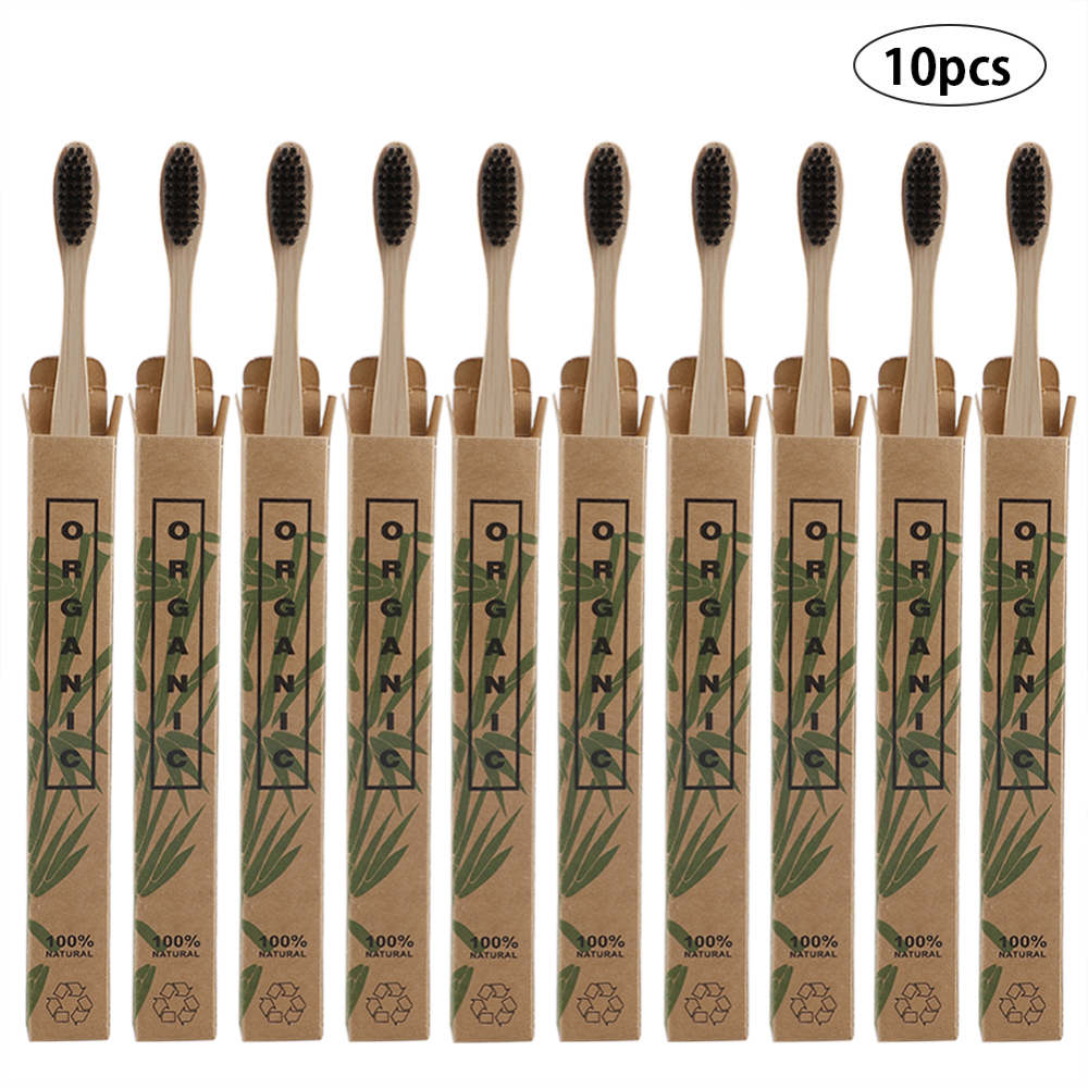 10pcs Set Bamboo Tooth Brushes Environment Bamboo Soft bristle Charcoal Square Wooden Handle Toothbrushes Dental Care Tools in Toothbrushes from Beauty Health