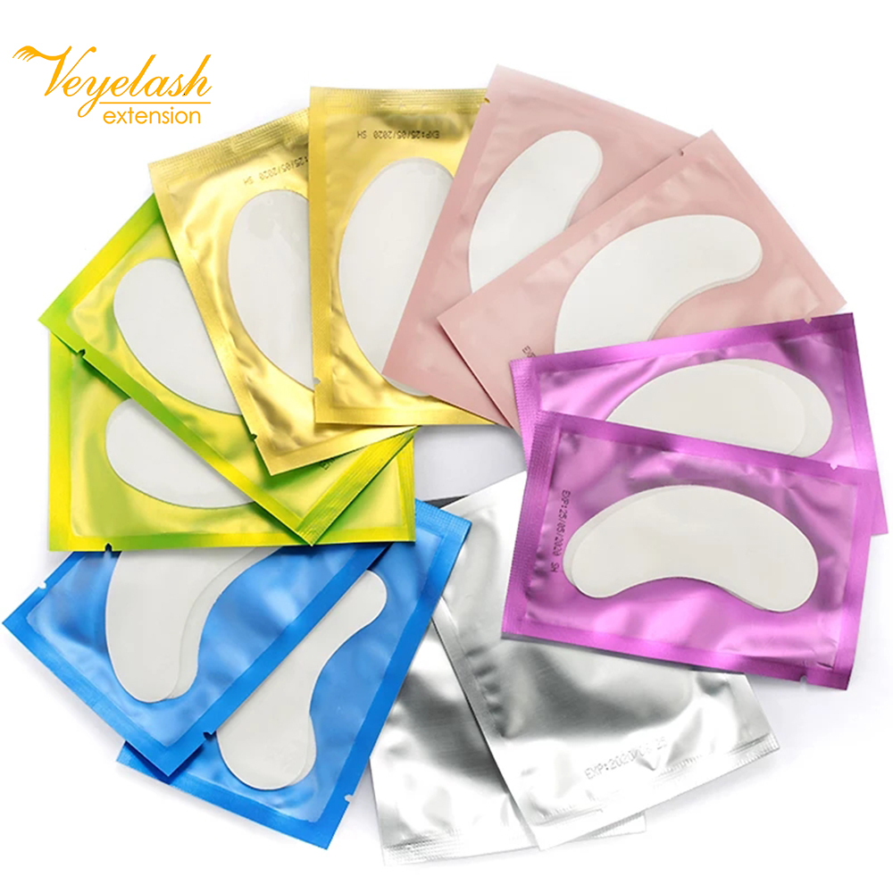 50pairs New Paper Patches Eyelash Eye Pads Lash Eyelash Extension Paper Patches Eye Tips Sticker Wraps Make Up Tools 7 Colors