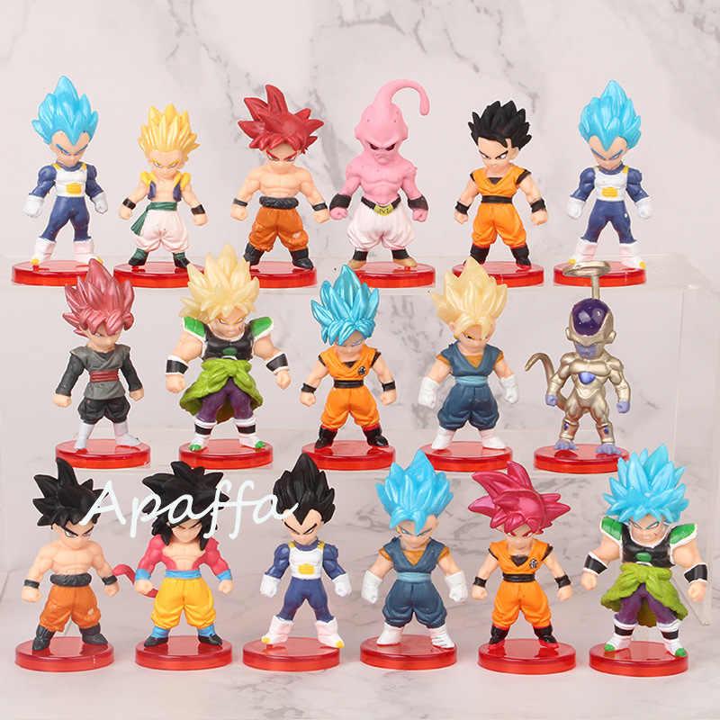 16 pçs/lote dragon ball super saiyan deus figura de ação, filho, goku, gohan, vegeta, vegetto, frieza, zamasu, ultra instantâneo, modelo, brinquedos presente