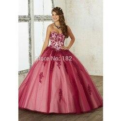 Puffy quinceanera vestidos de baile querida tule apliques frisado cristais baratos doce 16 vestidos
