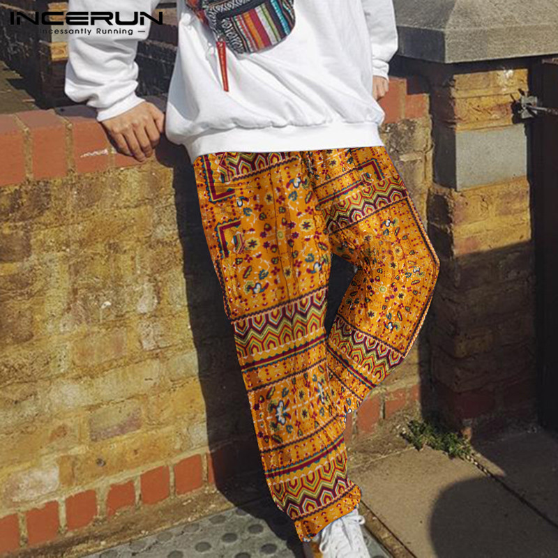 INCERUN 2020 Men Pants Ethnic Style Printed Joggers Streetwear Retro Cotton Wide Leg Trousers Men Baggy Drawstring Pants S-5XL 7