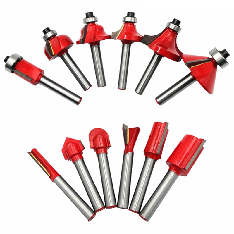12Pcs 6Mm Shank Router Bit Set Trimming Straight Corner Beading Bits for Wood Milling Cutter Carbide Cutting Woodwork Tool