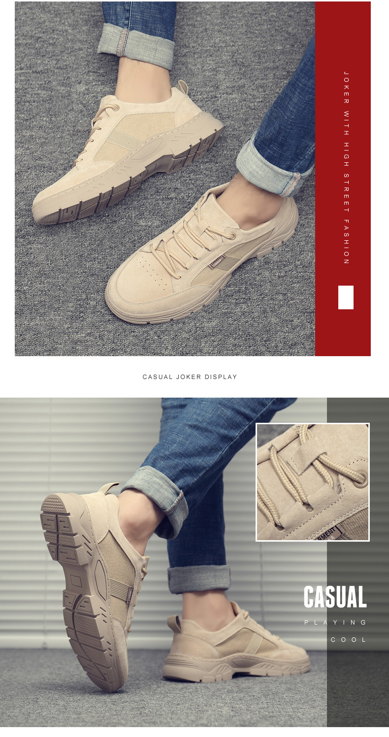 Misalwa Casual Men's Shoes Summer Low Top Breathable Pig Suede Sneaker British 2020 New Trend Versatile Desert Work Wear Boots