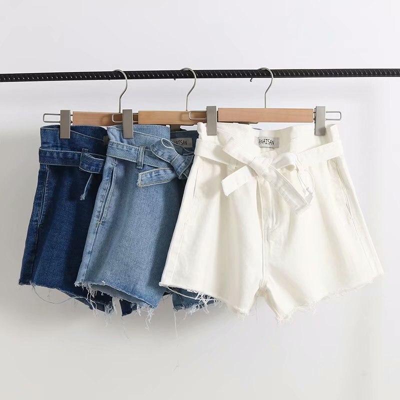 Summer White Denim Shorts Drawstring High Waist Shorts Womens Ripped Tassle Bottoms Streetwear