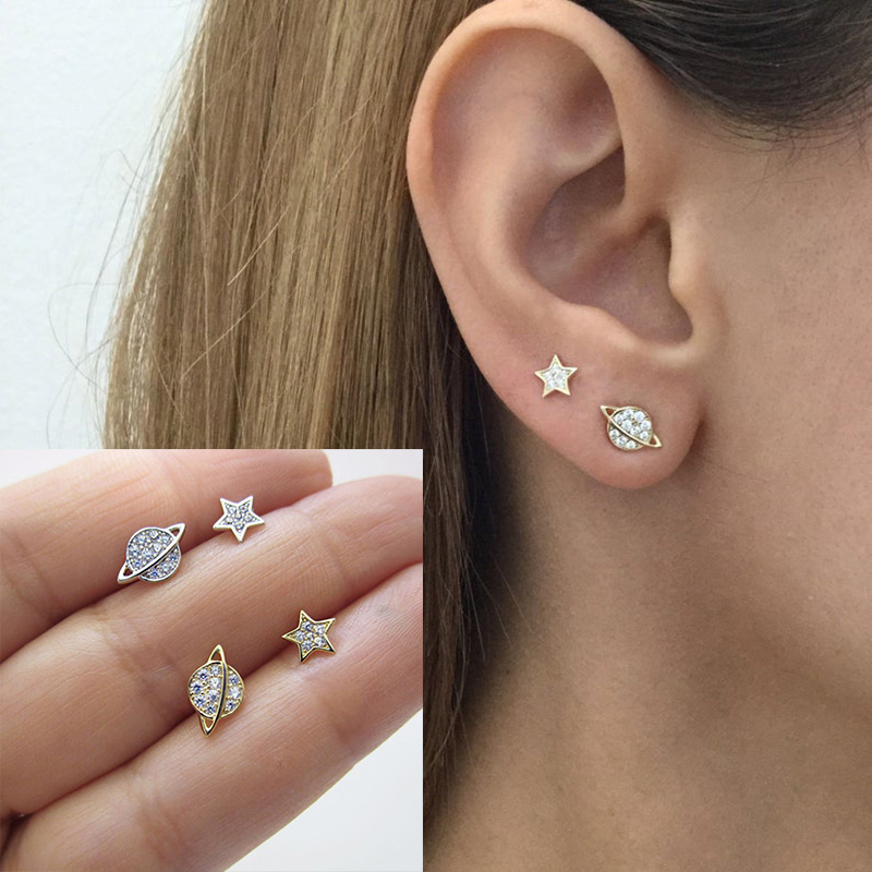 925 Sterling Silver Charm Earrings Asymmetric Stars Planet Earrings Women Earrings Wedding Banquet Gift For Girlfriend A30
