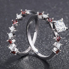 2/pcs Luxury Cubic Red Zirconia Heart Promise Ring Cute Stacking Engagement Rings For Women Fashion Christmas Jewelry Wedding(China)