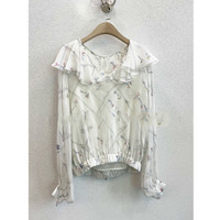 LouLan Silk Lotus Leaf Attach White Women Shirts Ladies Tops And Blouses Clothes Feminina Summer Lace Camisas Mujer