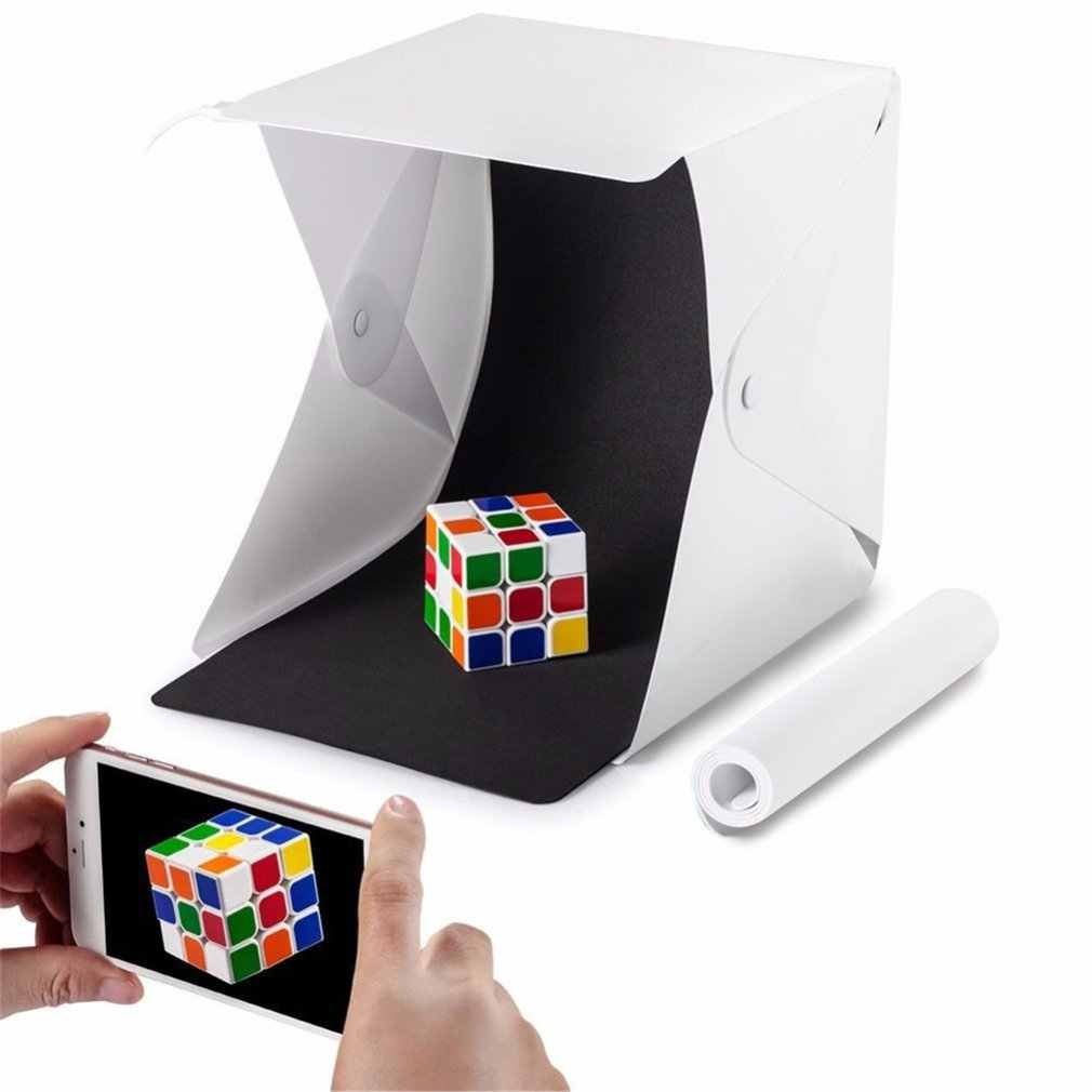 Mini katlanır Lightbox fotoğrafçılık fotoğraf stüdyosu Softbox LED ışık yumuşak kutu fotoğraf arka plan kiti ışık kutusu DSLR kamera için dropship