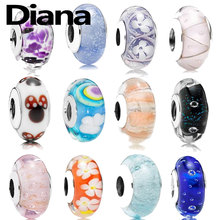 Diana fit original Pandora charm bracelet personality high quality fashion jewelry lady 925 sterling silver DIY glass beads