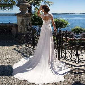 Image 2 - 2020 linia suknia ślubna szyfonowe aplikacje koronkowe vestidos de novia z wycięciem suknia dla panny młodej suknie ślubne