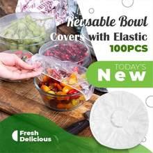 100PCS Einweg Mehrweg Bowl Covers Mit Elastische Frische Lebensmittel Halten Lagerung Saran Wrap Für Kühlschrank Küche