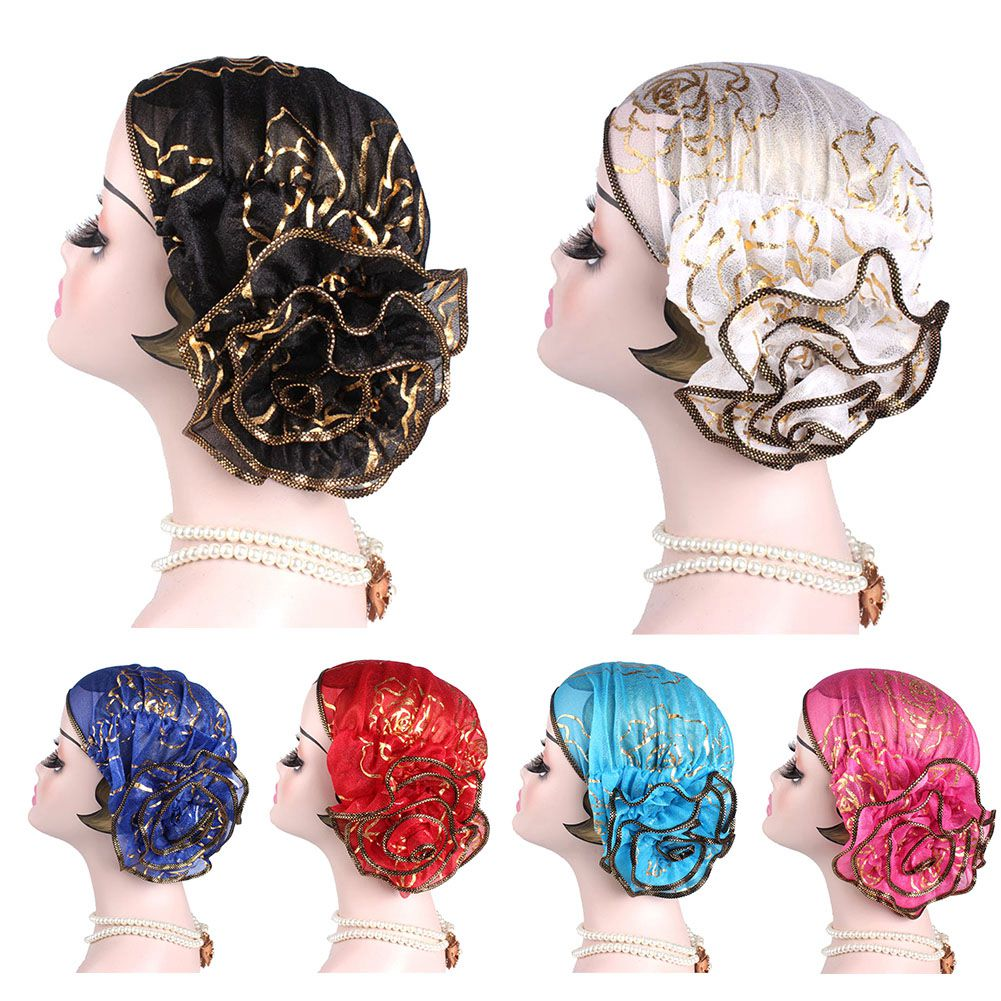 Muslim Fashion Women's Hijabs  Headscarf Pile Heap Cap Women Able Caps Islamic Bronzing Flower Turban Hat