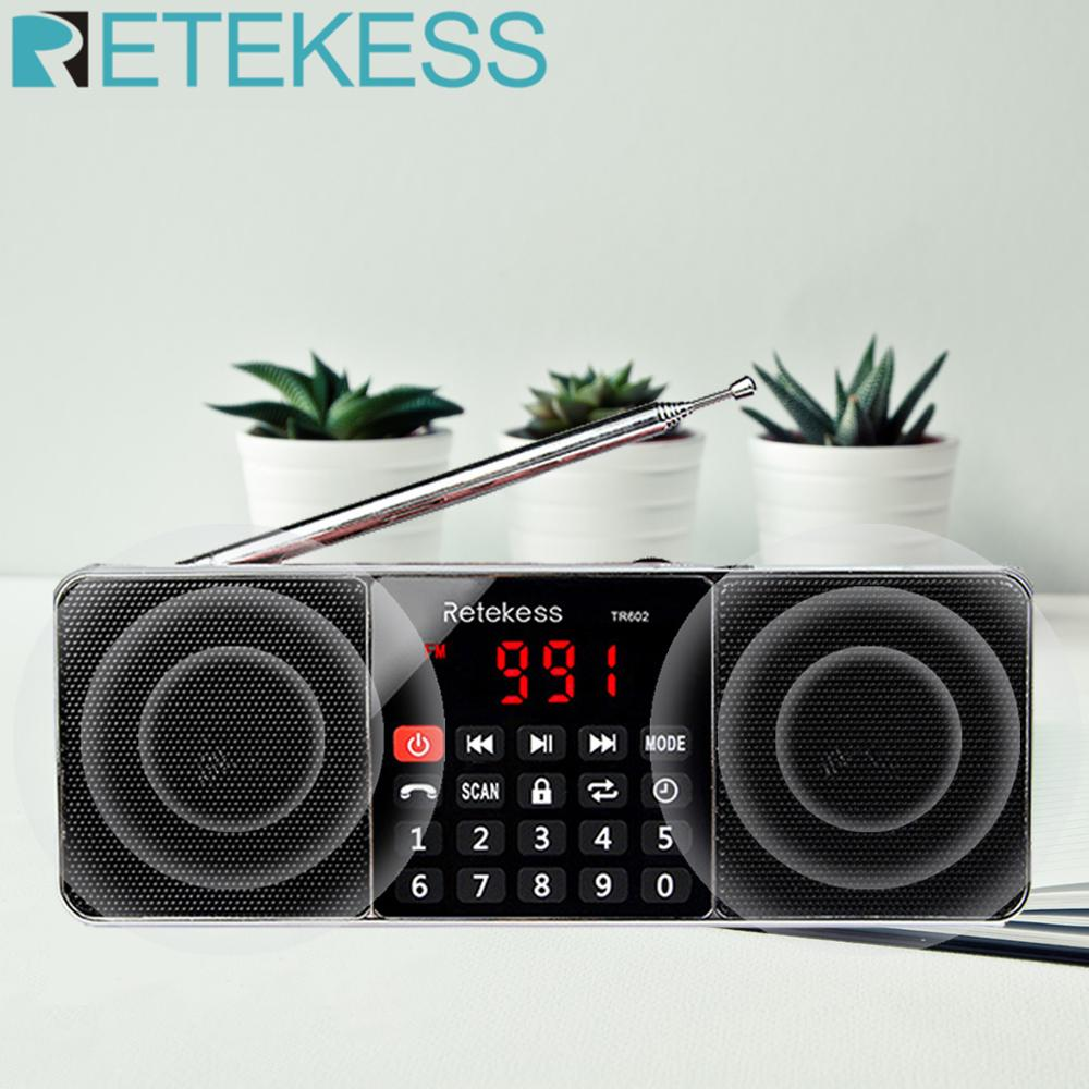 RETEKESS TR602 Digital Portable AM FM Radio Bluetooth Speaker AUX Stereo MP3 Player TF/SD Card Sleep Timer USB Drive LED Display