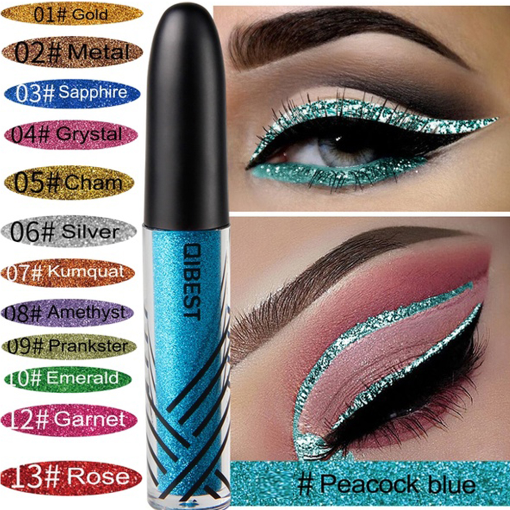 QIBEST Brand New 13 Colors Flash Eyeliner Sequins Flash Eyeliner Glitter Waterproof Long-lasting Liquid Eye Makeup Cosmetics