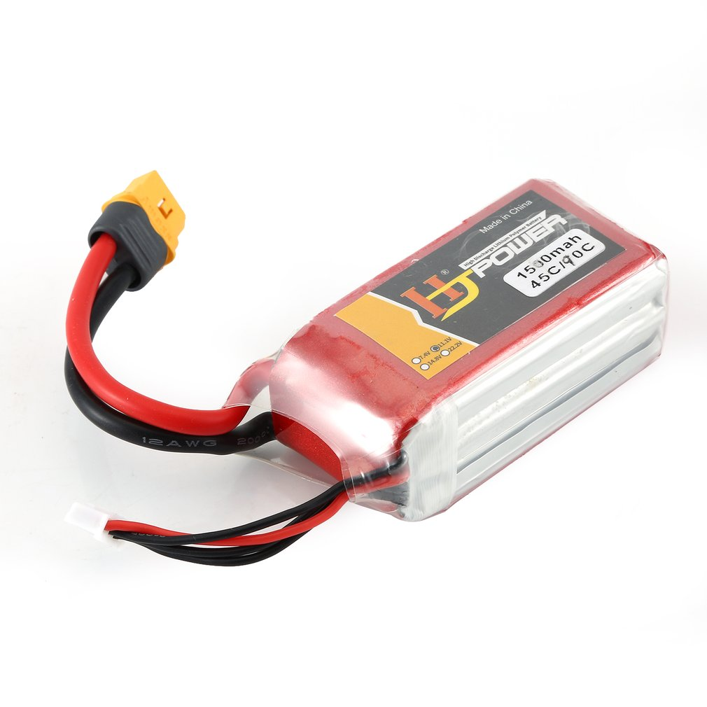 HJ 11.1V 1500MAH 45C 3S Lipo Battery XT60 Plug Rechargeable for RC Racing Drone Helicopter Car Boat Model image