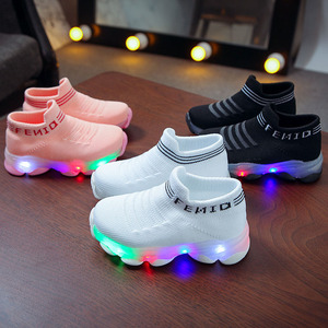 Kids Sneakers Children Baby Girls Boys Letter Mesh Led Luminous Socks Sport Run Sneakers Shoes Sapato Infantil Light Up Shoes