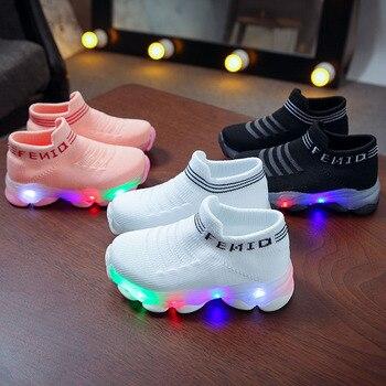 Kids Sneakers Children Baby Girls Boys Letter Mesh Led Luminous Socks Sport Run Sneakers Shoes Sapato Infantil Light Up Shoes