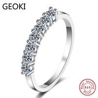 Geoki Luxus 925 Silber Bestanden Diamant Test Mossanite Ring Perfekte Cut 0,28 ct D Farbe VVS1 Engagement Hochzeit Ringe für frauen