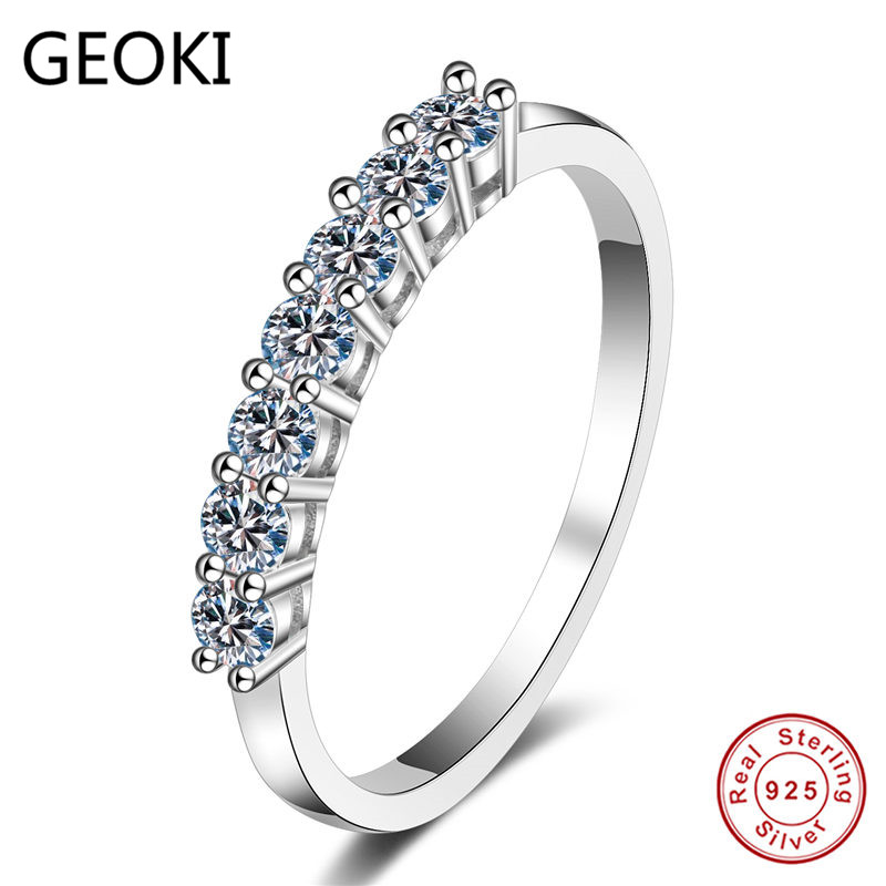 Geoki  Luxury 925 Sterling Silver Moissanite Diamond Ring Perfect Cut 0.28 Ct D Color VVS1 Engagement Wedding Rings For Women
