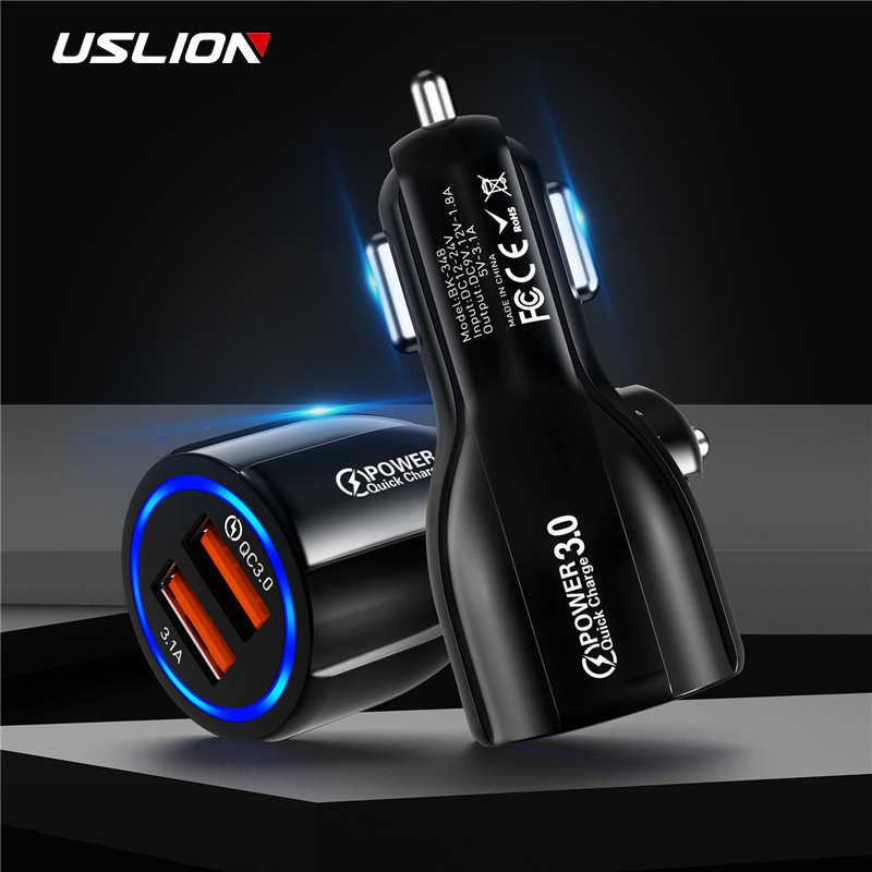 USLION 3.1A Dual USB Car Charger uick Charge 3.0 2.0 Mobile  Phone Car-Charger for Huawei P30 iPhone Samsung Tablet Quick