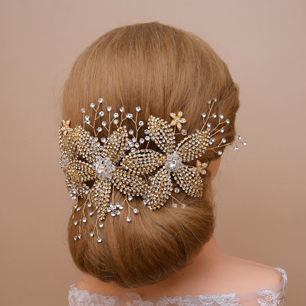 TRiXY H252-G Gorgeous Golden Wedding Crown Tiara Rhinestone Wedding Hair Jewelry Gold Bridal Accessory Bridal Hair Headpiece